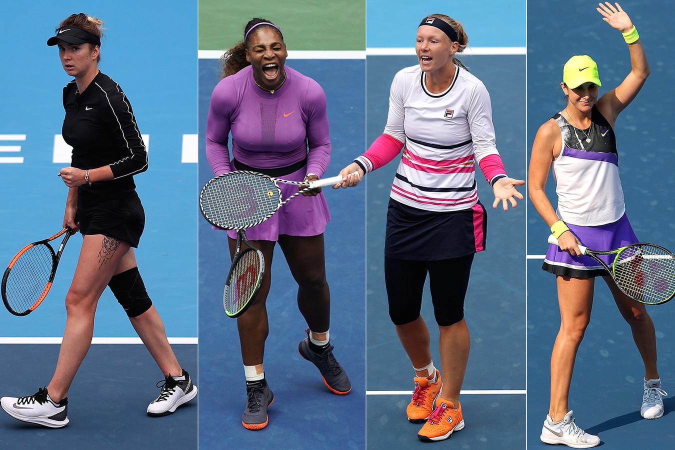 Vlnr: Elina Svitolina, Serena Williams, Kiki Bertens en Belinda Bencic.