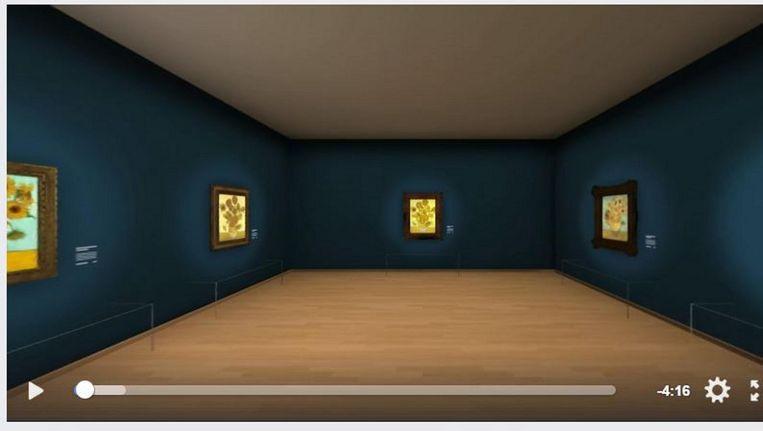 De vijf Zonnebloemen van Van Gogh voor het eerst bij elkaar. Beeld Facebook printscreen