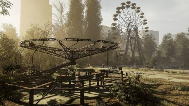 'Chernobylite' vat omgeving van Tsjernobylramp in gloeiend videogame-entertainment