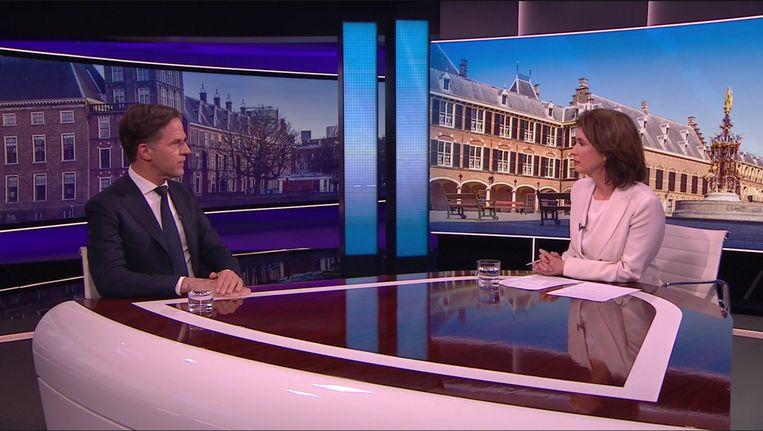 Mark Rutte in gesprek bij Nieuwsuur. Beeld Nieuwsuur