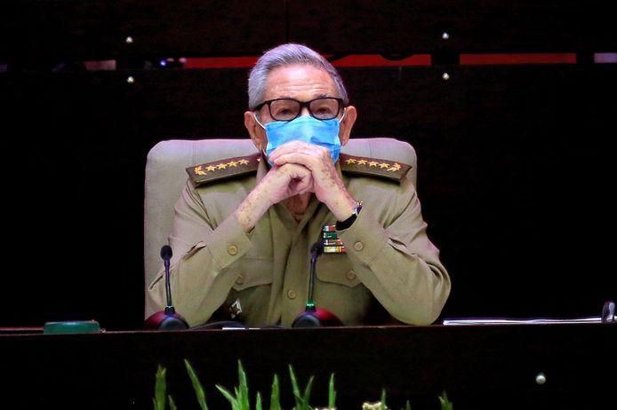 Raúl Castro tijdens het congres van de Communistische Partij in Havana.