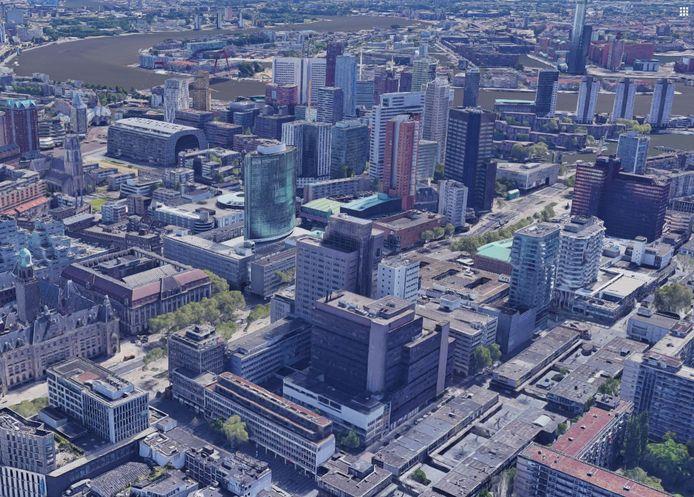 Microlab Eindhoven opent in september een nieuwe vestiging in Rotterdam, in het bruine gebouw middenvoor, tussen Lijnbaan (voorgrond) en Coolsingel. Met ver onder andere het Stadhuis, het World Trade Center en de Markthal.