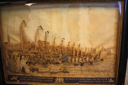 Schilderij landing van prins Willem I