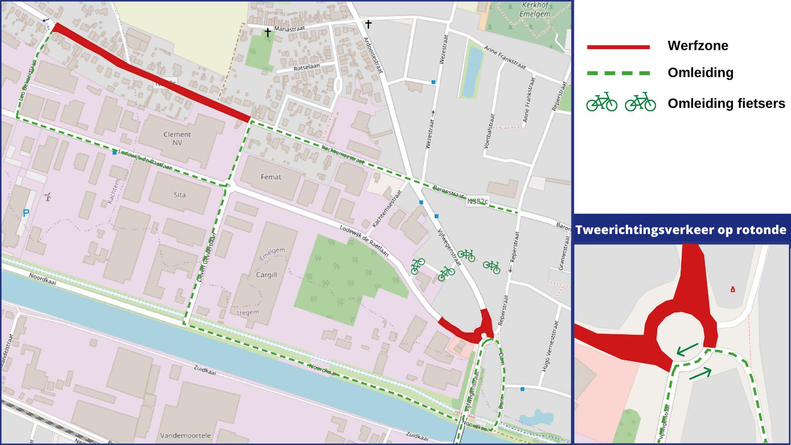 Het plannetje van de nieuwe fase in de werken aan de Vijfwegen en Kachtemsestraat.