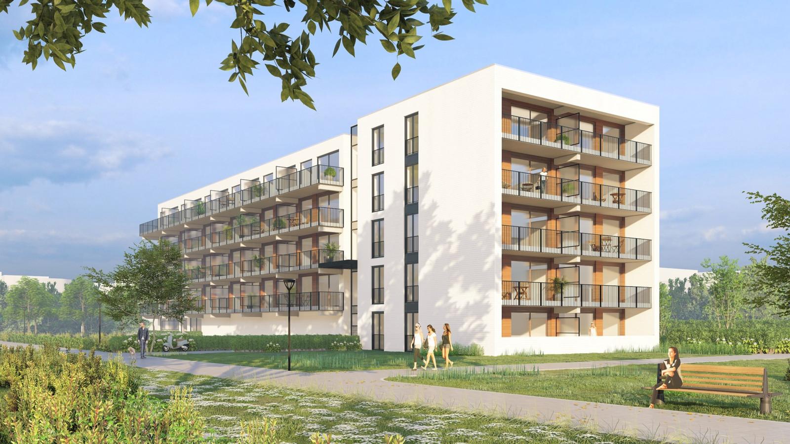 Een voorbeeld van een gestandaardiseerd appartementengebouw.