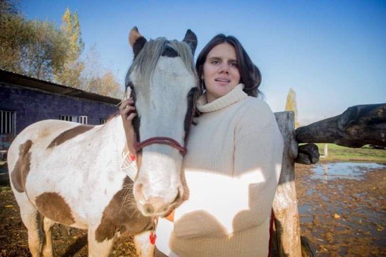 Eva Vroman en haar paard Princess.
