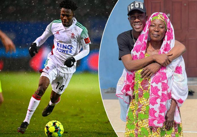 Kamal Sowah, vorig jaar nog actief bij OH Leuven, en zijn mama in Ghana.