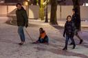 Nederland,  Den Bosch, sneeuwval op de Parade