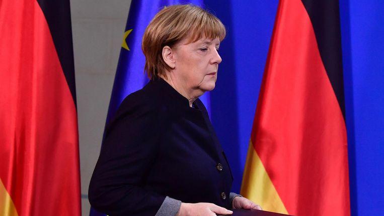 Angela Merkel sprak vandaag op een persconferentie over het incident in Berlijn Beeld afp