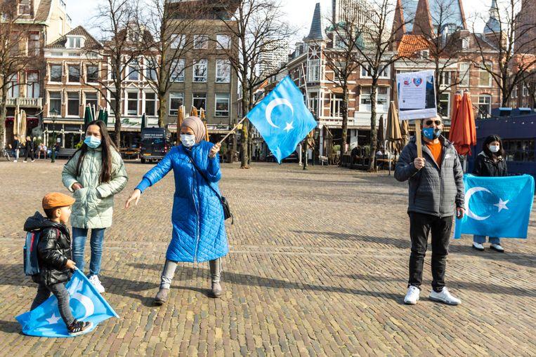 Demonstratie van Oeigoeren op het plein in Den Haag. Beeld ANP/HH