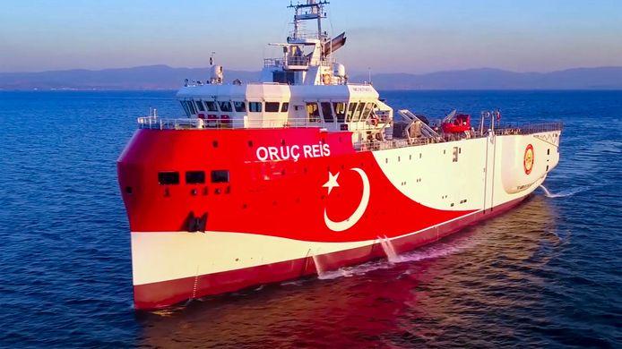 Onderzoeksvaartuig Oruc Reis in de Middellandse zee.