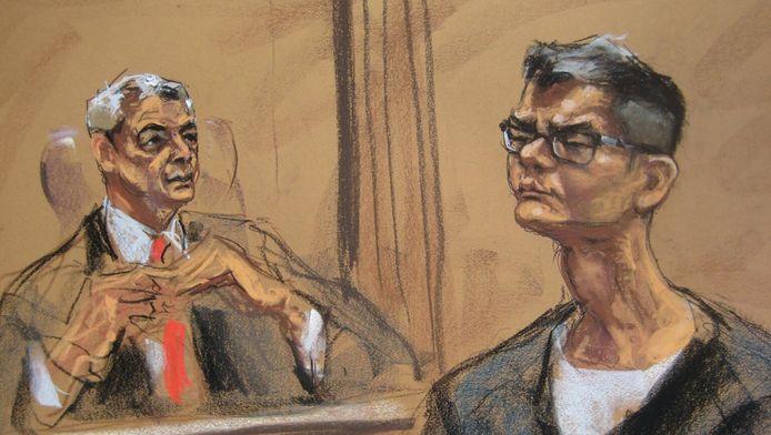 Een rechtbanktekening van Rudy Kurniawan (rechts) voor de rechter.