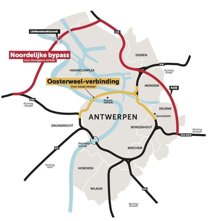 Het nieuwe plan voorziet een noordelijk tracé (rode lijn) voor doorgaand verkeer én een Oosterweel-verbinding (gele lijn) voor lokaal verkeer.