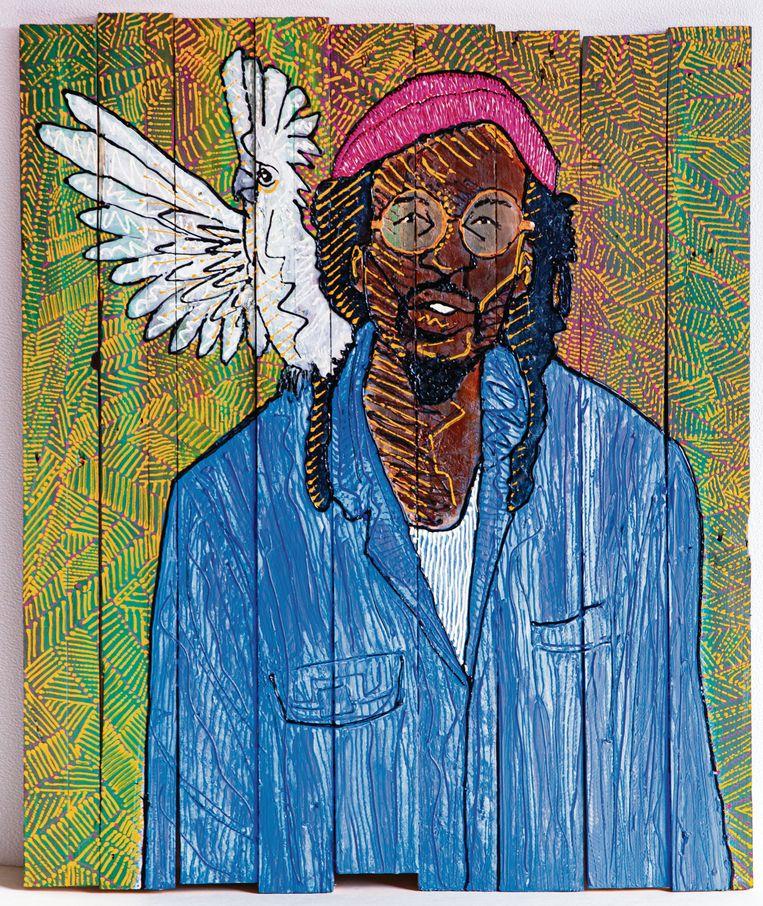 Het portret van Rufus Collins door Brian Elstak voor de portrettengalerij van Internationaal Theater Amsterdam. Beeld Brian Elstak