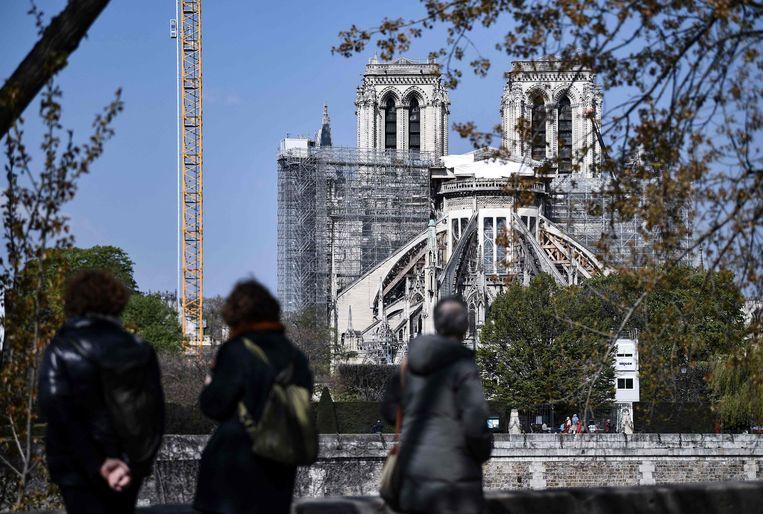 De Notre-Dame werd in 2019 getroffen door een grote brand. Beeld AFP