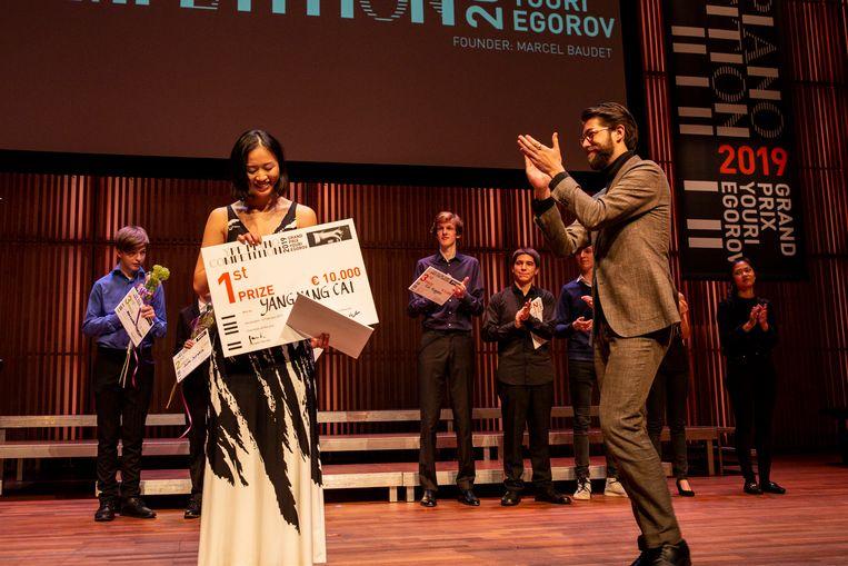 Yang Yang Cai won zondag in het Muziekgebouw aan het IJ in Amsterdam.  Beeld FOPPE SCHUT