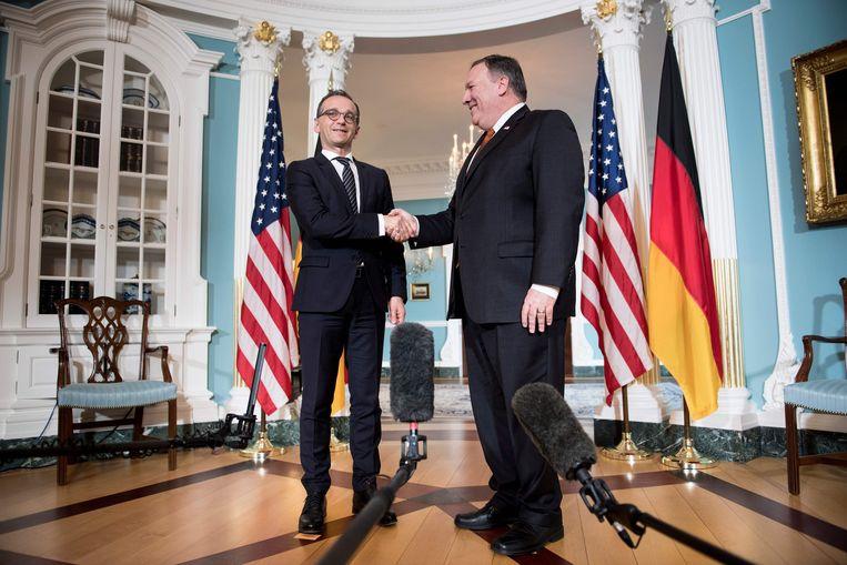 Heiko Maas in Washington met de Amerikaanse minister van Buitenlandse Zaken Mike Pompeo. Beeld AFP