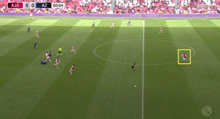 Vlak voor de 1-0 haalt Martínez met een reuzensprint een AZ-counter eruit. Beeld Screenshot ESPN