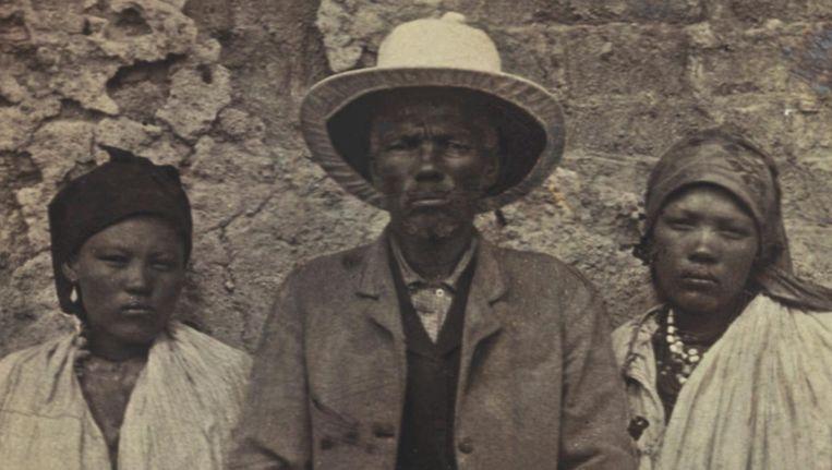 Kapitein Hendrik Witbooi (midden) leidde het verzet van de Witboois tegen de Duitse koloniale bezetters in Namibië. Beeld nb
