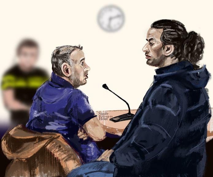 Aziz (rechts) en Fatah A. in de rechtbank van Rotterdam tijdens hun proces.