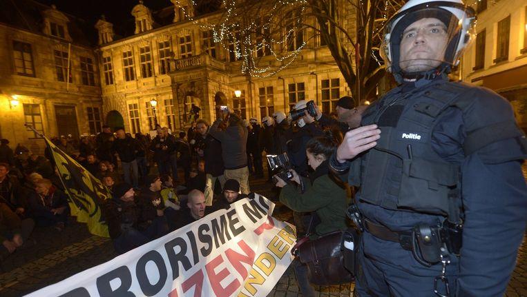Verboden betoging van Pegida in Antwerpen in maart. Beeld PHOTO_NEWS