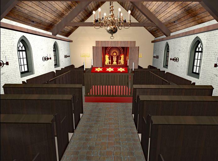 Reconstructie van het interieur van de Drutense synagoge kijkend vanaf de ingang richting de arke.