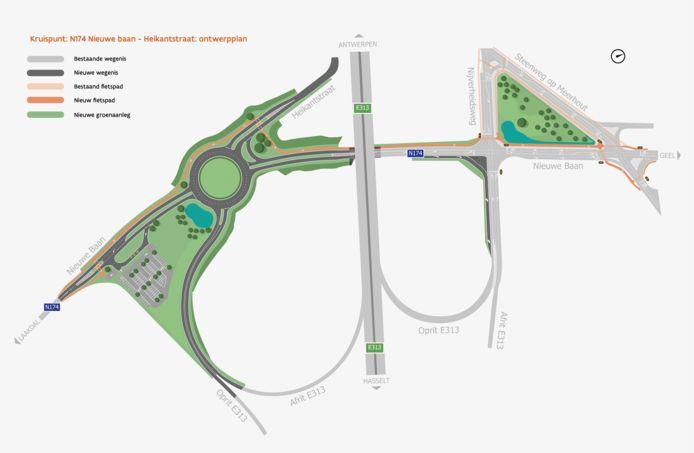Het ontwerpplan van de nieuwe verkeerssituatie in Eindhout.