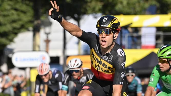 Sterke Van Aert wint na lange sprint op de Champs-Élysées en zet Cavendish een hak