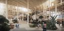 De wintertuin, de centrale hal, in het ontwerpplan voor de Dutch Mountains, een grotendeels houten gebouw aan de Prof Dr. Dorgelolaan/Dommel in Eindhoven.