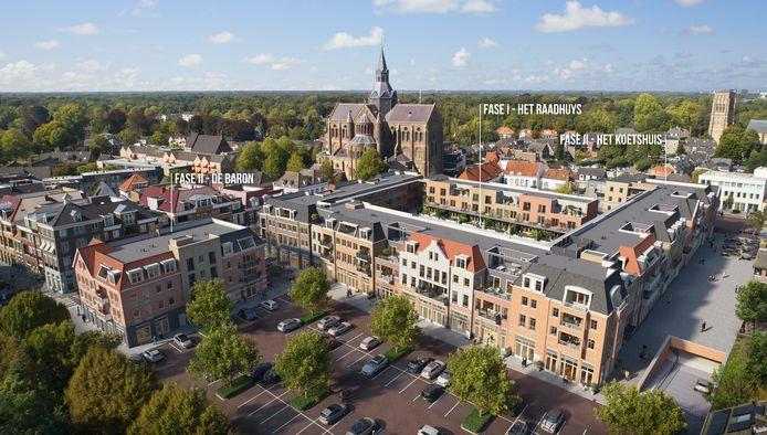 Impressie van het nieuwe woonwinkelcentrum Marktplein in Vught.