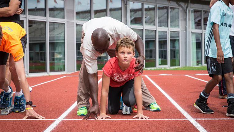 Ben Johnson geeft een clinic in het Olympisch Stadion Beeld Dingena Mol
