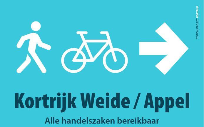 Er komt extra signalisatie om aan voetgangers en fietsers duidelijk te maken dat je kan blijven passeren via Appel. Als je van het station komt en richting Weide wil.