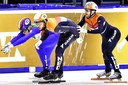 De aflossing tijdens de EK shorttrack in januari in Gdansk.