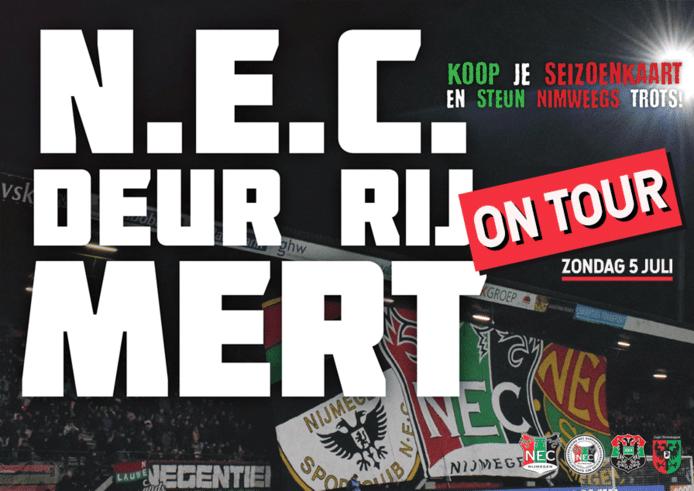 De spelersbus van NEC gaat vandaag stad en streek in om seizoenkaarten te verkopen via de 'Deur rij mert on tour'