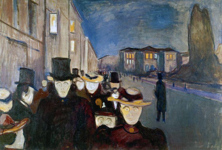 Abend auf der Karl Johans Gate (1892) van Munch.  Beeld Getty Images