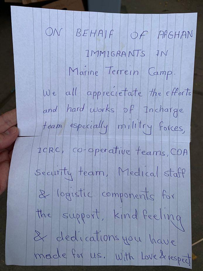 De brief die Afghaanse evacués achterlieten in Amsterdam voor ze naar Heumensoord vertrokken.