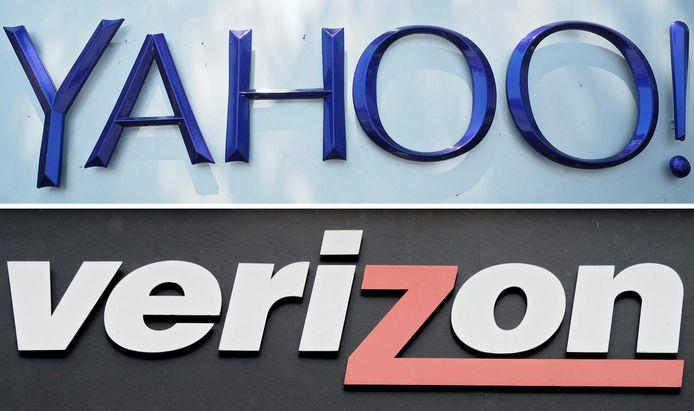 De logo's van Verizon en Yahoo op archiefbeeld.
