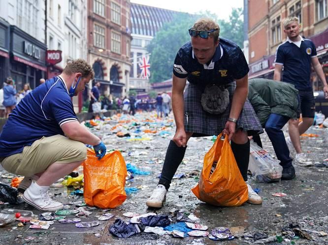 Heerlijke beelden: Schotse fans ruimen Londen op na uitbundig voetbalfeest