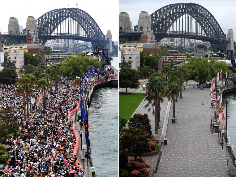 Een groot verschil: de mensenmassa op Circular Quay in Sydney op 31 december 2019 (links) en nu (rechts). Beeld EPA