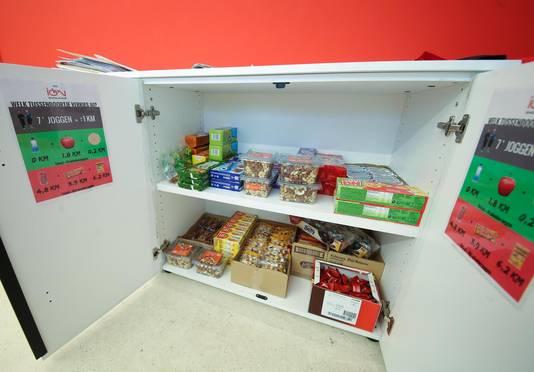 Aan de snoepkast hangen briefjes die werknemers eraan herinneren dat de ene snack meer calorieën bevat dan de andere.