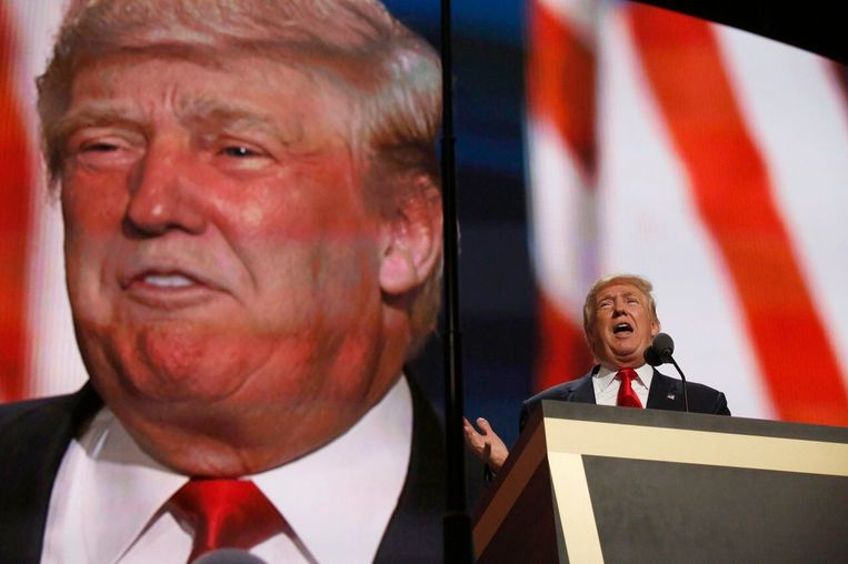 Trump tijdens een speech in 2016. Beeld Photo News