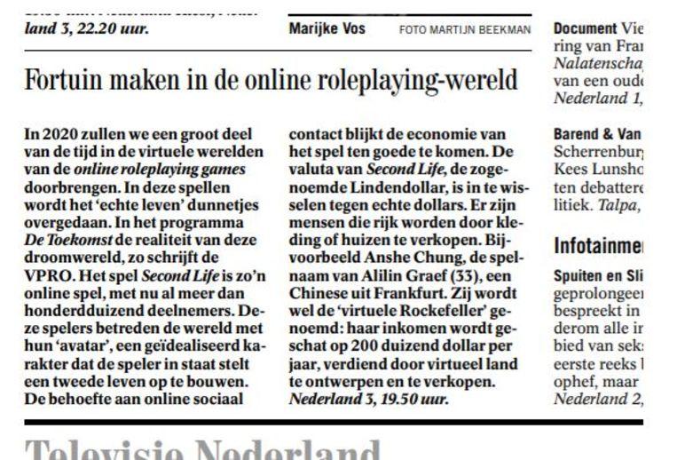 De eerste keer dat de Volkskrant melding maakt van Second Life: de aankondiging van een VPRO-documentaire in 2006. Beeld de Volkskrant