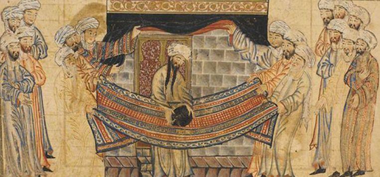 Mohammed wijdt de zwarte steen in Mekka, beide uit de Jami Al-Tawarikh (geschiedenis van de wereld), c. 1315, Tabriz. Beeld Library of the University of Edinburgh