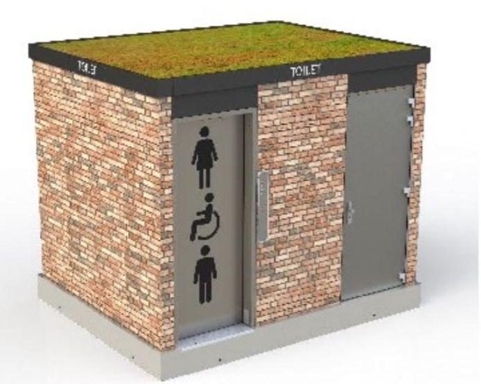 Een voorbeeld van hoe een openbaar toilet eruit kan zien.