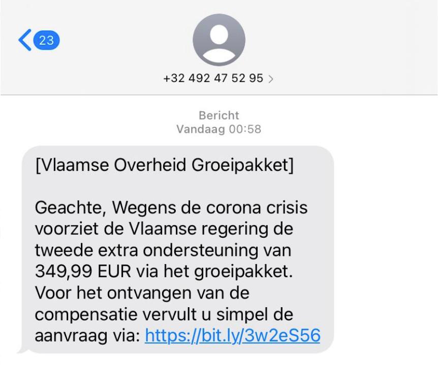 Deze sms ziet er betrouwbaar uit, maar is vals. Klik op de link, en je bent geld kwijt