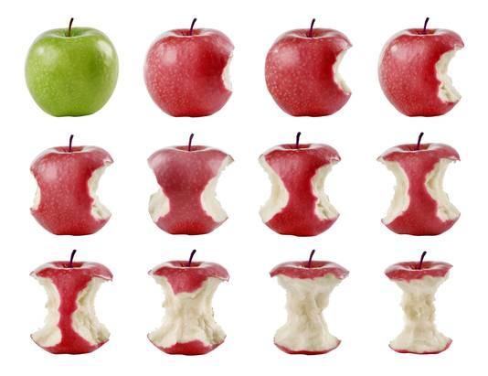 Eet je een appel, stop dan niet bij het klokhuis.