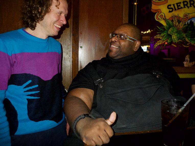 Stijn en Michael Bland, drummer van The New Power Generation Beeld Francois Vidal