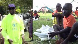 Kanye West geeft ook weeskinderen in Oeganda sneakers