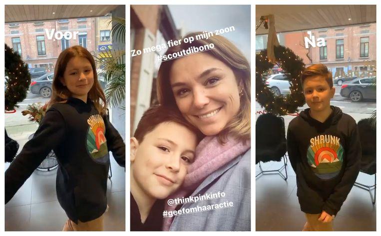 Het zoontje van Evi Hanssen knipt zijn lokken af voor het goede doel