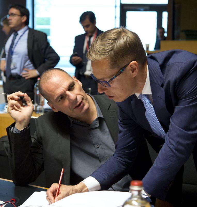 Yanis Varoufakis met Alexander Stubb vorige week. Beeld AP